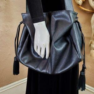 Black Leather Hobo Bag Slouch Shoulder Purse Urban